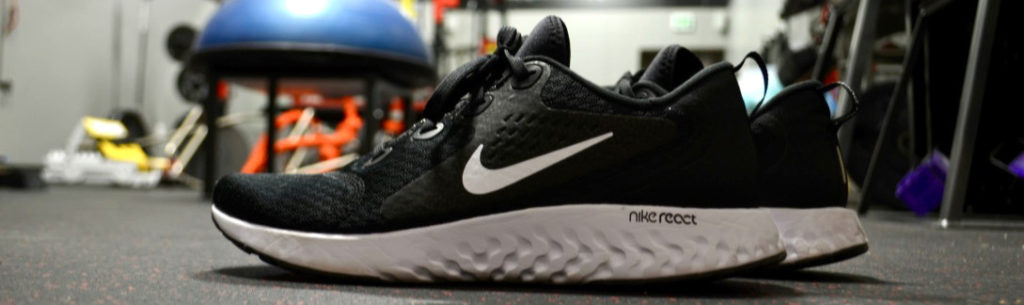 Black sneaker on ground in physiotherapist gym Martensville