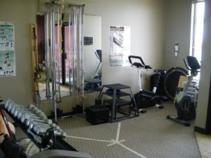 Gym with weights and training equipment